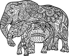 The 324 Best Adult Colouringelephantszentangles Images On - Coloring-pages-elephants