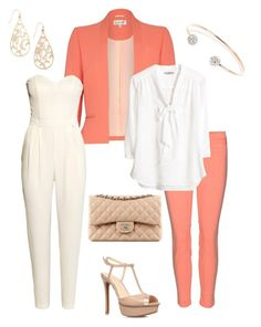 Coral and white by jofobbester on Polyvore featuring polyvore fashion style H&M Damsel in a Dress J Brand Jessica Simpson River Island Chanel clothing