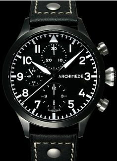 Archimede Black Pilot M and Chronograph PVD watch