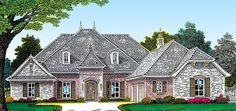 English Country Style House Plans - 2793 Square Foot Home , 1 Story, 4 Bedroom and 3 Bath, 3 Garage Stalls by Monster House Plans - Plan House Plans One Story, Ranch House Plans, Cottage House Plans, Dream House Plans, Story House, French Country House Plans, European House Plans, English Country Style, Build A Closet
