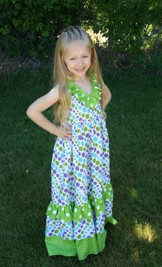 Emmaline Maxi halter dress for toddlers girls and teens. $60.00, via Etsy.....Paulette Hutton. I've got 2 make my girls some of these