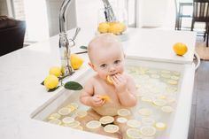 Baby birthday fruit bath photoshoot
