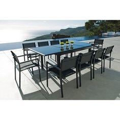 Table Valencia extensible en verre - 160 x 240 x 100 cm - gris
