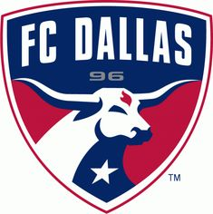 FC Dallas Primary Logo (2005) - A longhorn on a shield with Texas flag colors under FC Dallas script