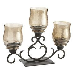 Amber Luster Centerpiece - I know that this doesn't have the leaves either, but I love how this coordinates with the other leaf items that Pier One is carrying this fall, that can be spread throughout your rooms to coordinate them too! From Dining Table to Living Room, your house will flow!!!