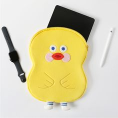 Cute unique design Yellow duck tablet PC zip pouch iPad case with a cushion pad on each side, this case will keep your iPad(tablet PC) safe on the go. Cute Ipad Cases, Ipad Bag, Korean Products, Ipad Accessories, Aesthetic Phone Case, Ipad Tablet, Cushion Pads, Saddle Bags, Pouch