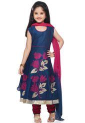 Dark Blue Art Chanderi Silk Readymade Anarkali Churidar Kameez