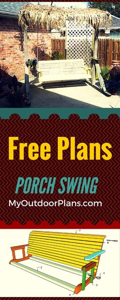 Free Porch Swing Plans - Learn how to build a porch swing set with easy to follow instructions and diagrams! Free plans at www.myoutdoorplans.com #swing #porch