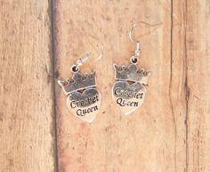 Crochet queen earrings, silver crochet earrings, crafty earrings, heart crown, crochet lover, needle hook,, metal charm, dangle, nickel free on Etsy, $8.00