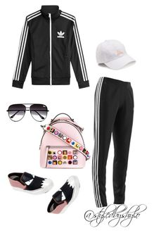 """Road ting 🤙"" by styledbyshylo on Polyvore featuring adidas, adidas Originals, Fendi, Quay, fendi, adidasjacket and adidastracksuit"