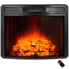 Freestanding Electric Fireplace Insert Heater In Black With Curved Tempered Gl And Remote Control