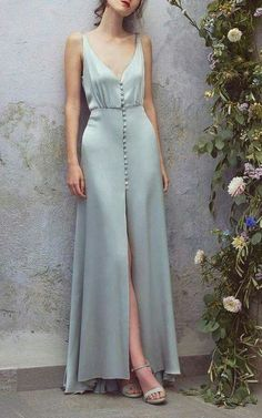 V Neck Long Blue Satin Prom/Evening Dress,Long Satin Homecoming Dress with Buttons