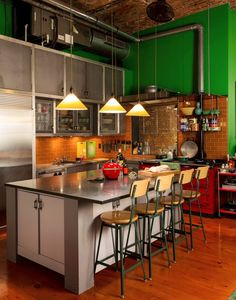 Kitchen - Loft with an industrial chic touch - compact, vibrant with shiny metals resulting in stunning.