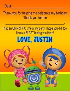 Unizoomi Birthday Party Thank You Note Cards Personalized Custom 3rd Birthday Parties, Birthday Party Invitations, 2nd Birthday, Birthday Ideas, Birthday Thank You Cards, Thank You Note Cards, I Party, Party Ideas, Your Cards