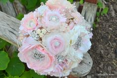 Blush peony and garden rose brooch bouquet by Noaki