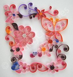 quilling butterfly and flowers