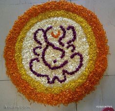 Rangoli Onam Pookolam: Onam Floral designs-Onam Pookalam by vijaysowmya Rangoli Designs Flower, Colorful Rangoli Designs, Rangoli Ideas, Rangoli Designs Diwali, Rangoli Designs Images, Diwali Rangoli, Flower Rangoli, Beautiful Rangoli Designs, Flower Designs