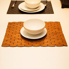 HANKEY Eco Friendly Bamboo Place Mats, Dining Mat, Decoration For Table,  Heat Insulation X X Inches) Hexagon Natural Color