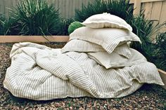 """Natural stonewashed linen duvet cover """"Stripes and Buttons"""", available in King and Queen sizes"""