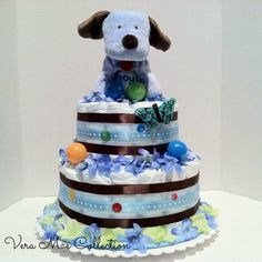 Diaper Cake For A Baby Shower For A Baby Boy by veramaecollection on Etsy