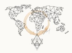 geometric world map canvas - Google Search