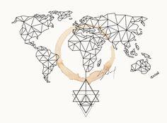 geometric world map canvas - Google Search
