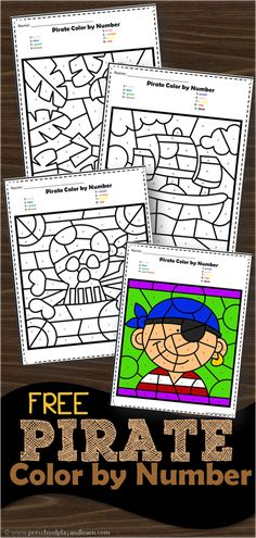 FREE Pirate Color by Number – super cute preschool worksheets to help perschoolers and kindergarten age kids practice number recognition with numbers with color by number worksheets - Kids education and learning acts Construction Theme Preschool, Pirate Preschool, Pirate Activities, Free Preschool, Kindergarten Worksheets, Preschool Activities, Number Worksheets, Pirate Coloring Pages, Coloring Pages For Boys