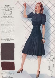 Fashion Frocks 1940 Fashion Frocks Womens Fashion Illustration with Fabric Swatch. 1940s Fashion Women, Retro Fashion, Vintage Fashion, Womens Fashion, Cheap Fashion, Ladies Fashion, 1940s Dresses, Vintage Dresses, Vintage Outfits