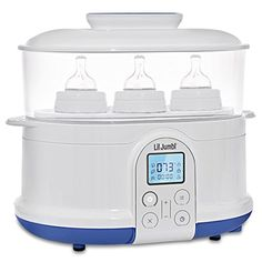 Lil Jumbl Bottle Sterilizer Warmer Dryer w Food Steamer Function Digital LCD Display with Custom Heat Settings * Visit the image link for more details. Baby Bottle Warmer, Baby Warmer, Best Breastfeeding Bottles, Baby Brezza Formula Pro, Best Baby Bottles, Baby Bottle Sterilizer, Steamer Recipes, How To Have Twins, Bottle Feeding