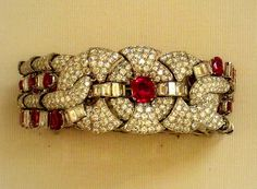 Ruby and diamond bracelet    British Museum  European around 1930