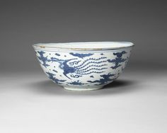 A large blue and white 'phoenix' bowl, Chenghua six character mark, Ming Dynasty