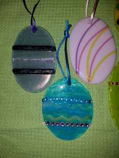 Fused glass Easter eggs