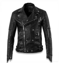 Cool Leather Jackets for Men | skull cool designer slim fit leather motorcycle biker jackets for men ...