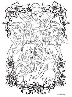 Coloriage de la fée clochette et ses amies. A vos crayons !