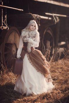 Brown White Steampunk Dress Corset Jewelry / Steampunk Fashion Photography / Women Girl // ♥ More at: