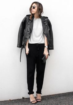 street style / moto + track pants + sandals   cozy chic