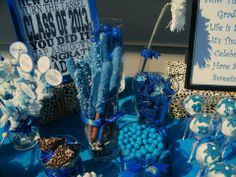 Royal Blue and Cheetah Print Graduation Candy Buffet