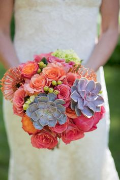 bouquet. orange, pink, purplish blue