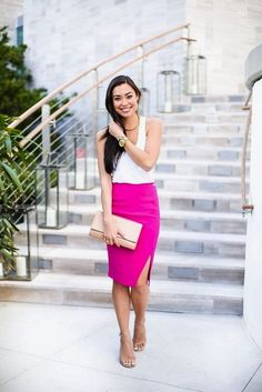 572df2c252 Pencil Skirts! glamhere.com Pink Pencil Skirt, Pencil Skirts, Hot Pink Skirt