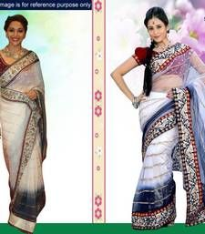 Buy Bollywood style White and dark blue net saree with unstitched blouse (bwd908) madhuri-dixit-saree online