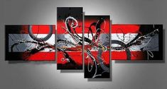 Abstract Artwork for Sale, Black and Red Wall Art, Framed Canvas Wall Art Sets, Extra Large Painting-Paintingforhome Red Wall Art, Metal Tree Wall Art, Wall Art Sets, Canvas Wall Art, Framed Canvas, Large Canvas, Bedroom Canvas, Bedroom Wall, Girls Bedroom