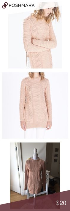 Zara sweater Zara chunky knit sweater with a side slit. Nude-pink color. A slit on one side gives a sexy peek at the waist. Carefully worn only a few times, in great condition. Zara Sweaters Crew & Scoop Necks
