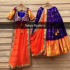 Purple and orange Banarasi lehenga Kids Lehenga Choli, Half Saree Lehenga, Choli Dress, Lehenga Crop Top, Banarasi Lehenga, Anarkali, Lehenga Designs, Half Saree Designs, Orange Lehenga