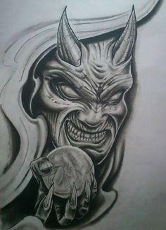 Getting The Best Dragon Tattoos – Japanese Dragon Tattoo Meanings Dragon Tattoo With Skull, Evil Skull Tattoo, Evil Tattoos, Wicked Tattoos, Demon Tattoo, Skull Tattoo Design, Skull Tattoos, Body Art Tattoos, Sleeve Tattoos