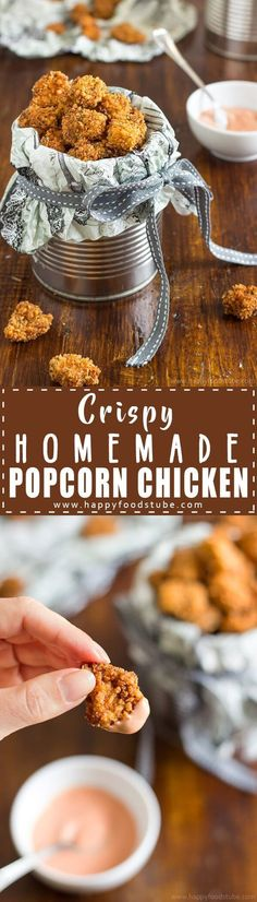 Crispy Homemade Popcorn Chicken - Easy recipe for this popular and delicious snack. Chicken pieces coated in breadcrumbs & served with yummy dip via /happyfoodstube/ (Popcorn Chicken Meals) Yummy Chicken Recipes, Yum Yum Chicken, Popcorn Chicken Recipe Easy, Chicken Meals, Turkey Recipes, Yummy Snacks, Yummy Food, Lunch Snacks, Easy Appetizer Recipes