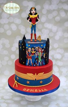 DC Superhero Girl Cake - Cake by The Crafty Kitchen - Sarah Garland