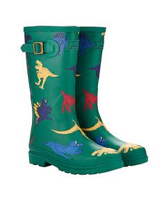 Joules Baby Dinosaur Wellies. Bright and colourful dinosaur themed wellies that will keep little feet dry and comfortable, whilst they are on the go splashing away.