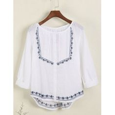 Vintage Scoop Neck 3/4 Length Sleeves Embroidered Blouse For Women