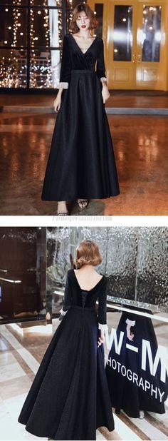 long sleeve formal dress #blackformaldress Formal Dresses With Sleeves, Black Velvet, Tulle, Prom Dresses, Lace Up, V Neck, Long Sleeve, Fashion, Moda