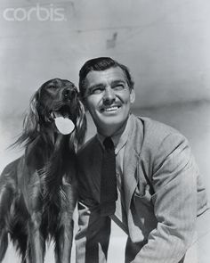 Clark Gable with his dog Lord Reily